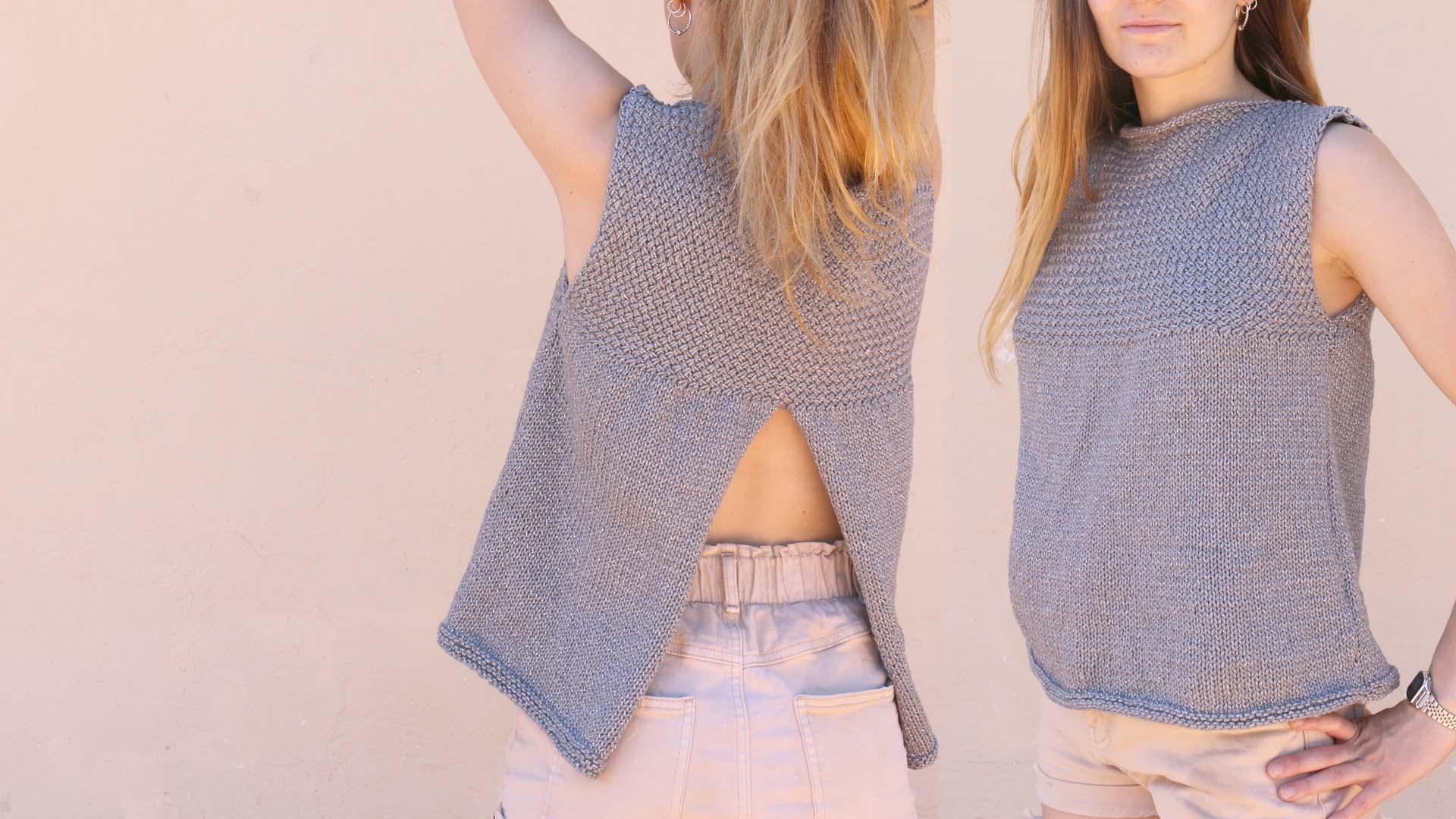 opened back blouse knitting free pattern