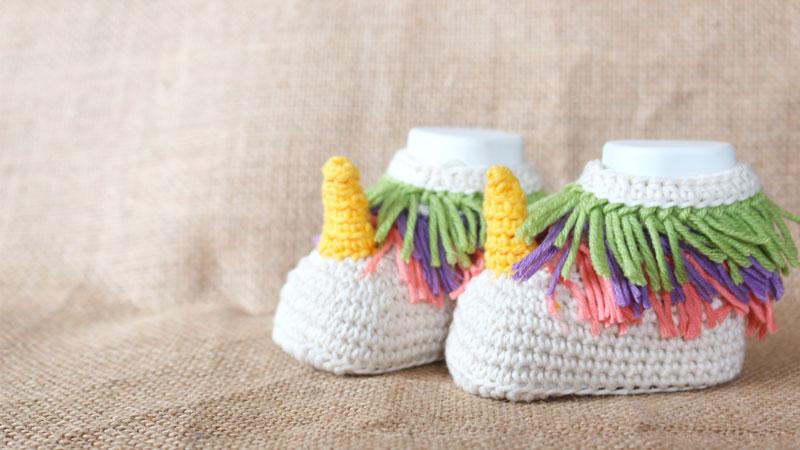 baby unicorn crochet booties free pattern