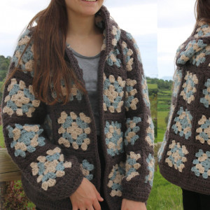 granny squares jacket crochet free pattern