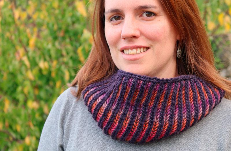 basic brioche scarf circle free knitting pattern
