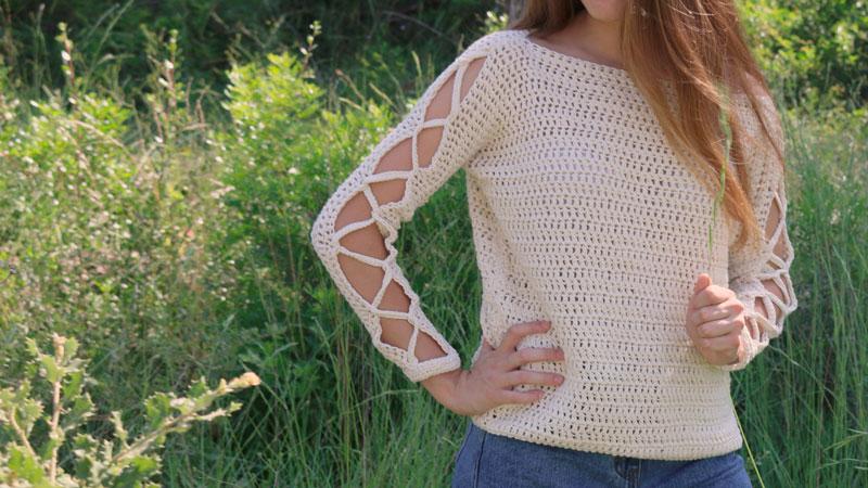 open sleeves blouse crochet free pattern