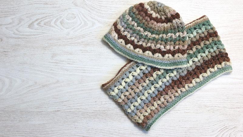 crochet puff stitch hat and scarf free pattern