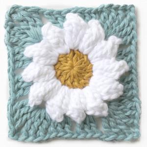 daisy granny square flower free crochet pattern