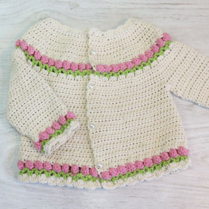 tulips cardigan free crochet pattern