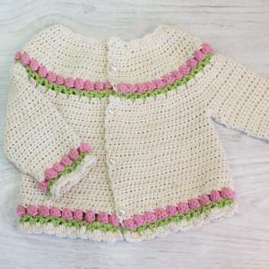 baby tulips cardigan free crochet pattern