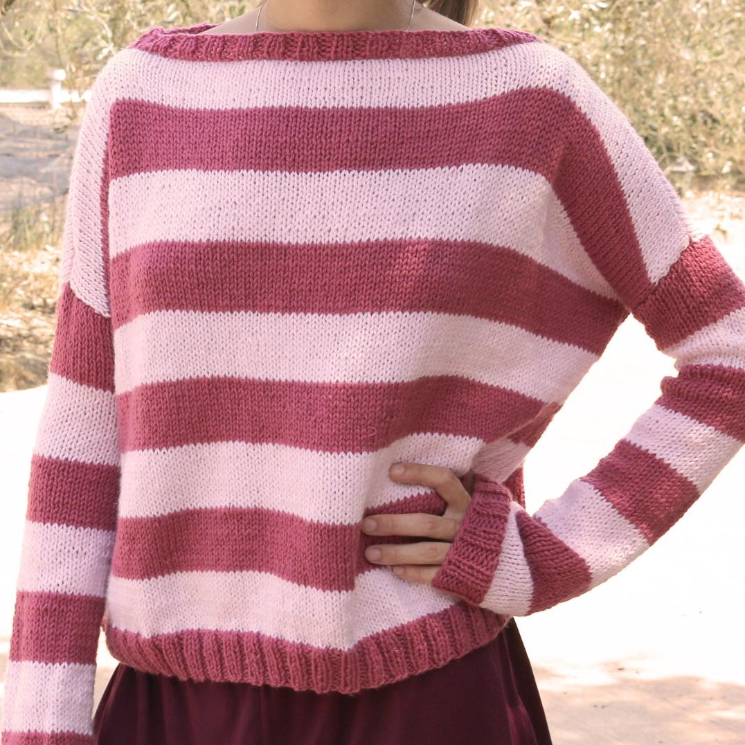 easy pink sweater jumper free pattern beginners knitting knit patron gratis tricot agujas jersey facil principiantes
