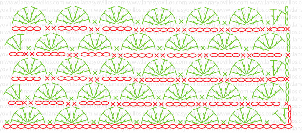 fan stitch crochet pattern chart ganchillo abanico punto